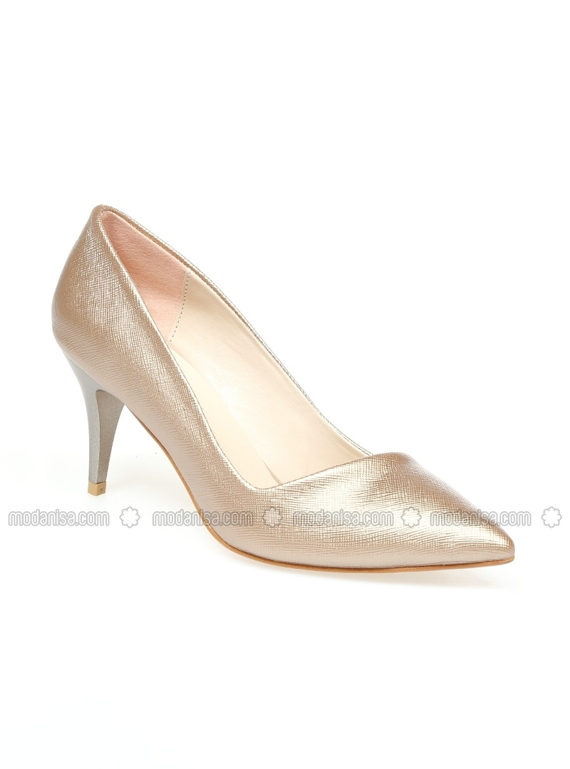 Brown - Gold - High Heel - Shoes