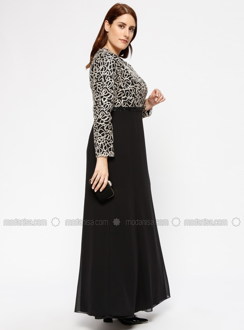 Gold - Multi - Fully Lined - Crew neck - Muslim Plus Size Evening Dress