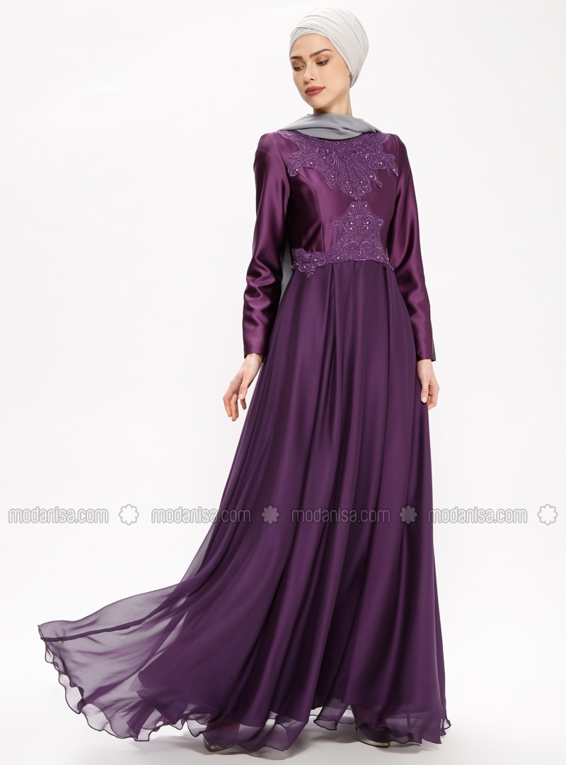 4c963db1cca Purple - Polo neck - Fully Lined - Muslim Evening Dress. Fotoğrafı büyütmek  için tıklayın