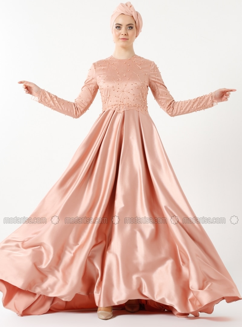 Salmon - Fully Lined - Crew neck - Muslim Evening Dress - Eldia By Fatıma