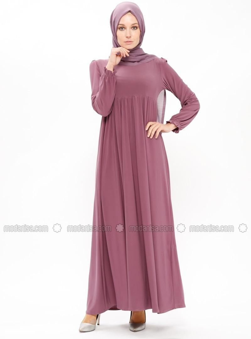 Pink - Purple - Point Collar - Unlined - Dresses - ZENANE