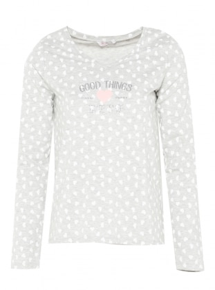Gray - V neck Collar - Heart Print - Pyjama