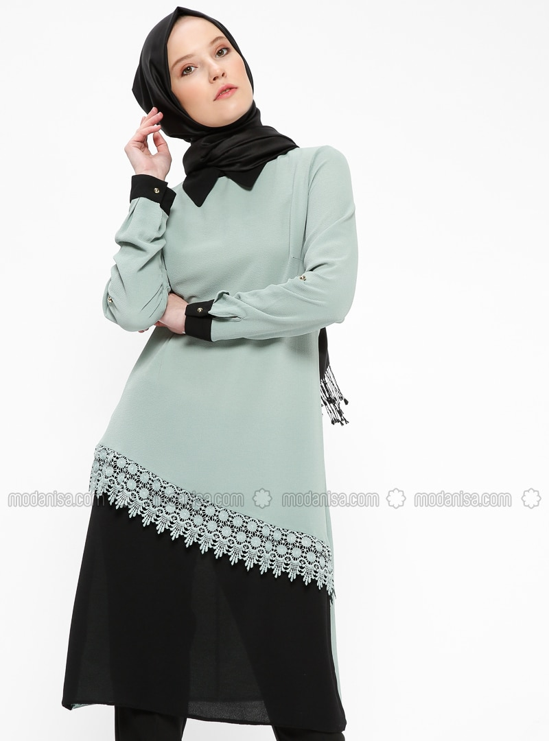 Green   Crew Neck   Tunic   Beha Tesettür by Modanisa