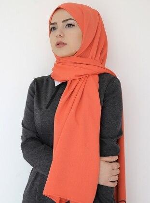 Orange - Plain - Crepe - Shawl