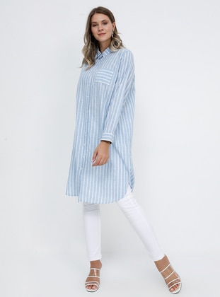 Blue - Stripe - Point Collar - Cotton - Plus Size Tunic - Alia