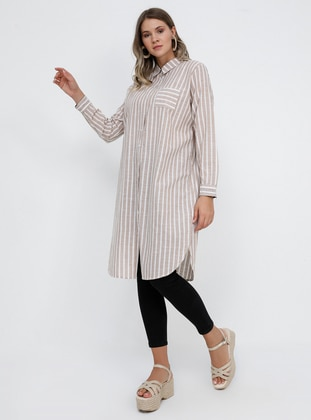Beige - Stripe - Point Collar - Cotton - Plus Size Tunic