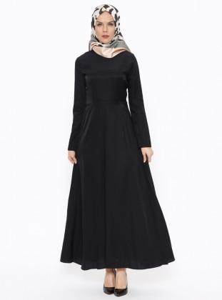 Düz Renkli Elbise - Siyah - TUĞBA Ürün Resmi