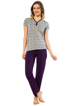 Gray - Purple - V neck Collar - Multi - Pyjama