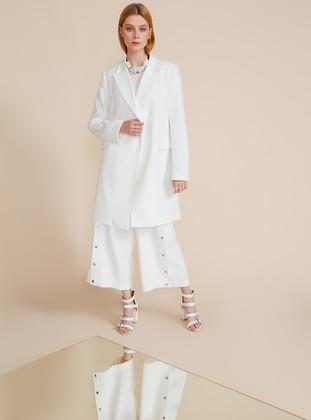 White - Fully Lined - Shawl Collar - Jacket
