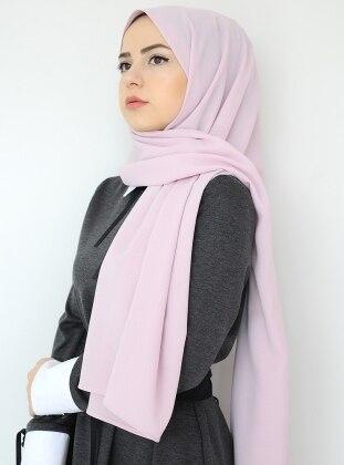 Pink - Plain - Crepe - Shawl