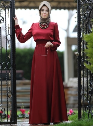 Maroon - Blue - Crew neck - Fully Lined - Maroon - Crew neck - Fully Lined - Dress