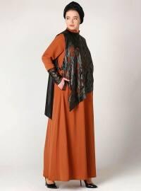 Orange - Fully Lined - Crew neck - Plus Size Dress