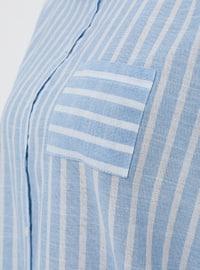 Blue - Stripe - Point Collar - Cotton - Plus Size Tunic