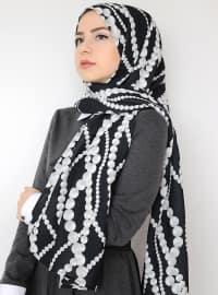 Black - Printed - Crepe - Shawl