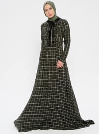 Khaki - Stripe - Checkered - Plaid - Unlined - Dress