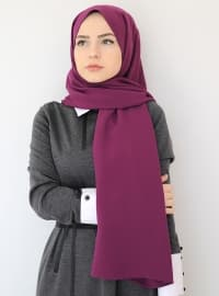 Purple - Plain - Crepe - Shawl