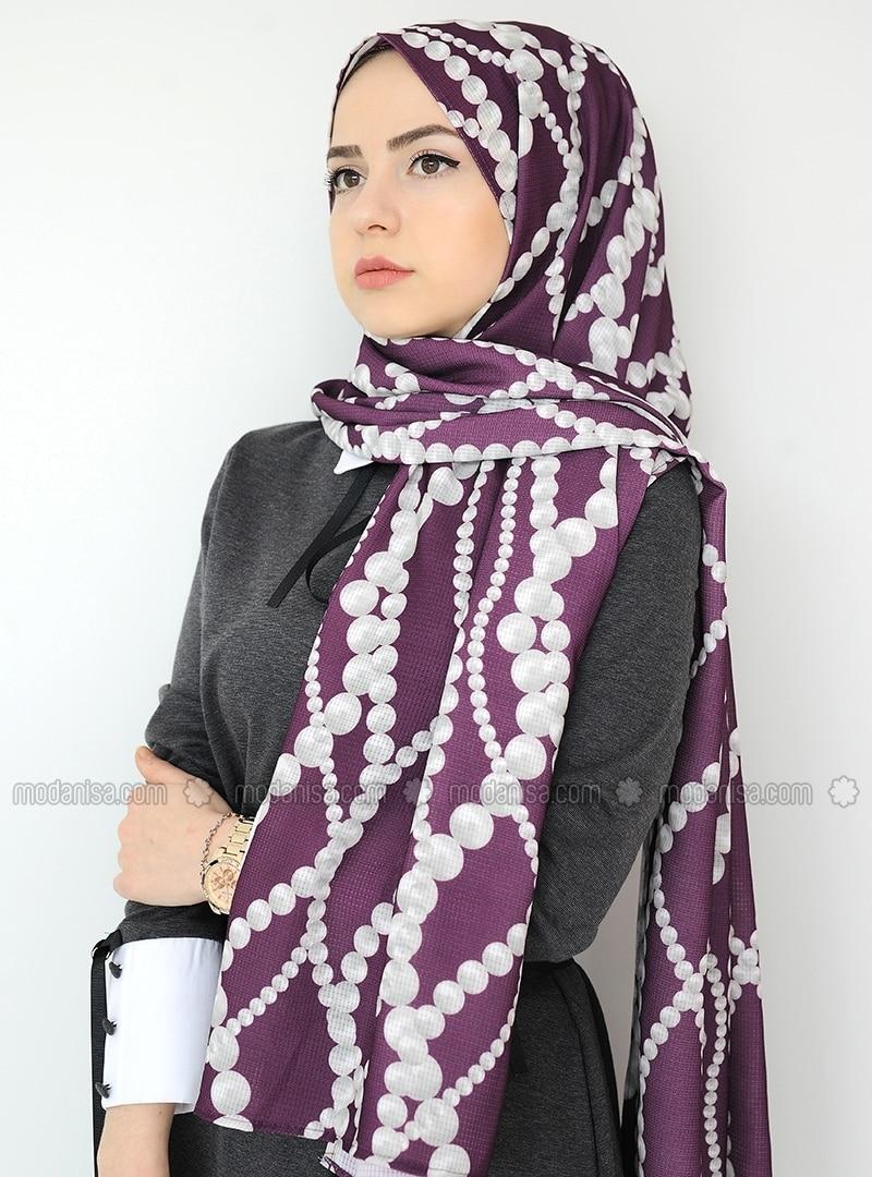 Purple - Printed - Crepe - Shawl