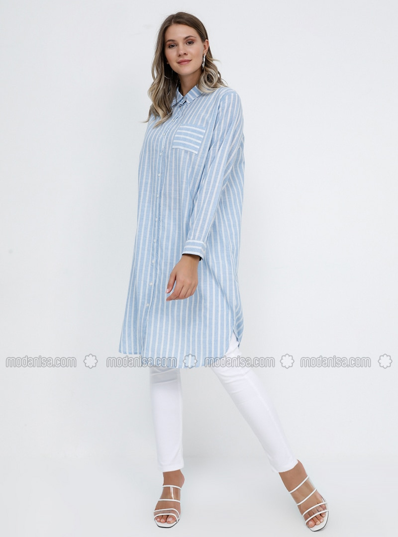 Blue - Stripe - Point Collar - Cotton - Plus Size Tunic