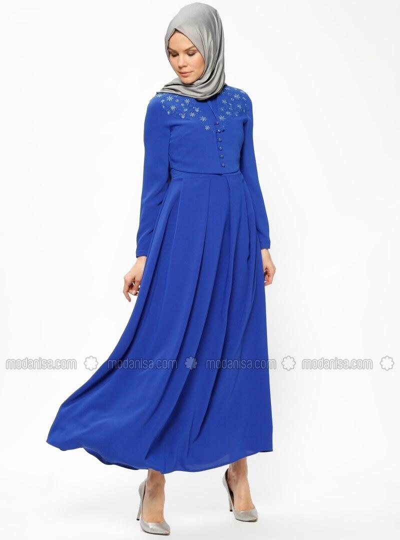 royalblau stehkragen mit innenfutter hijab kleid tu ba. Black Bedroom Furniture Sets. Home Design Ideas