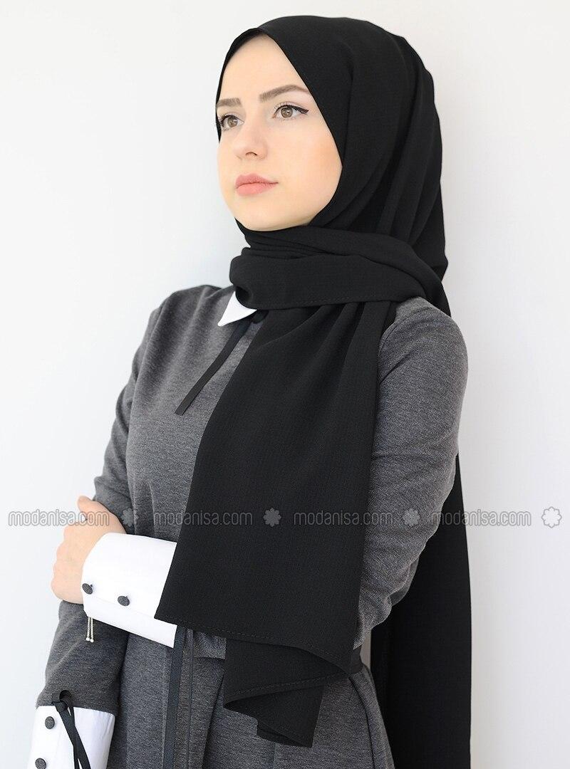 Black - Plain - Crepe - Shawl