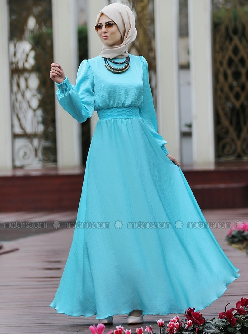 4a87e417a68 Blue - Crew neck - Fully Lined - Dresses