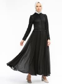 Dantelli Abiye Elbise - Siyah - BÜRÜN