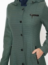 Green - Stripe - Fully Lined - Crew neck - Topcoat