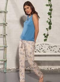 Blue - Crew neck - Multi - Pyjama