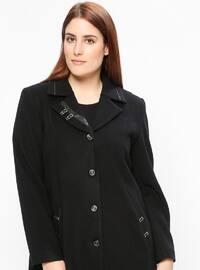 Black - Fully Lined - Shawl Collar - Plus Size Coat