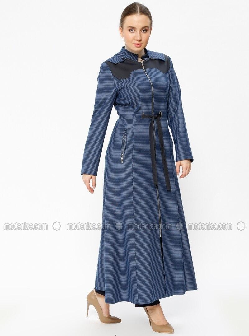 Blue - Stripe - Fully Lined - Crew neck - Plus Size Coat