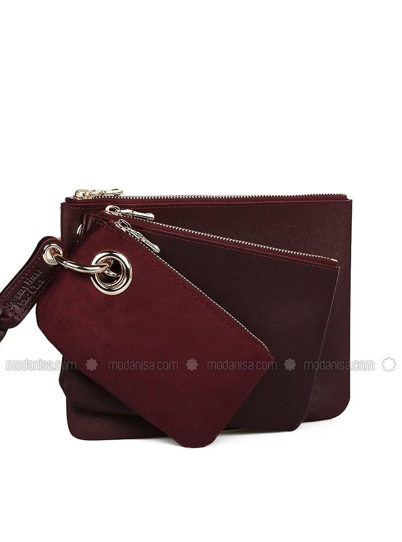 Maroon - Clutch - Bag