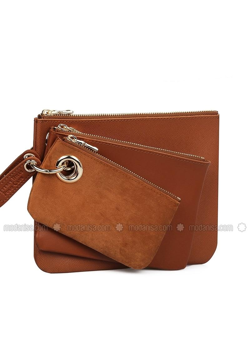 Tan - Clutch - Bag
