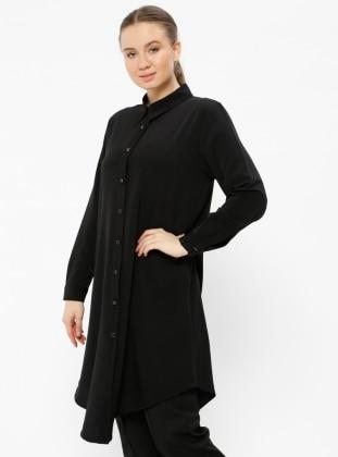Düğmeli Tunik - Siyah - Metex Ürün Resmi