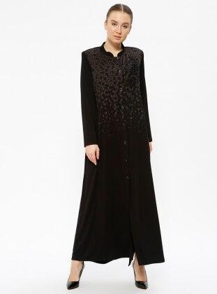 Black - Multi - Unlined - Crew neck - Plus Size Coat