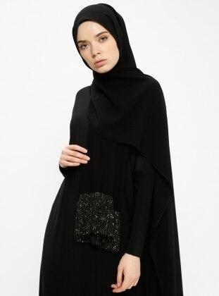 Black - Plain - Shawl - Ferrace By