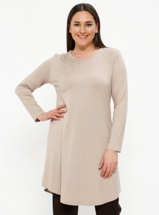 Beige – Crew Neck – Plus Size Tunic – Metex