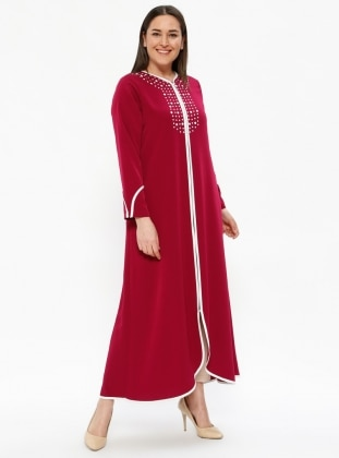 Pink - Maroon - Crew neck - Unlined - Plus Size Abaya