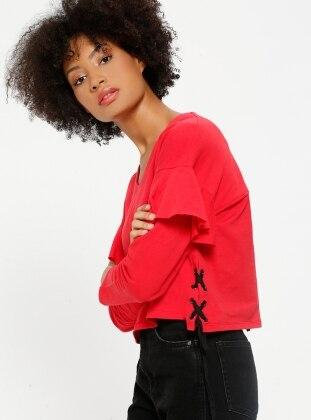 Kolları Volanlı Sweatshirt - Kırmızı - Koton Ürün Resmi