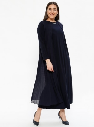 Pilise Detaylı Abiye Elbise - Lacivert - Metex Ürün Resmi