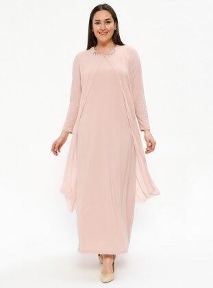Şifon Parçalı Abiye Elbise - Pudra - Metex Ürün Resmi