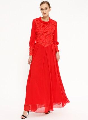 3d4b40c7c977c 2 Üç Boyutlu Çiçekli Abiye Elbise - Kırmızı Butik Neşe
