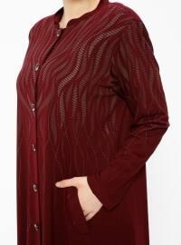 Maroon - Unlined - Crew neck - Plus Size Coat