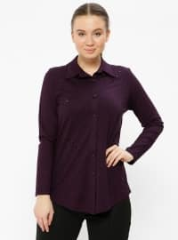 Purple - Point Collar - Plus Size Blouse