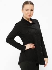 Düğmeli Bluz - Siyah - Metex