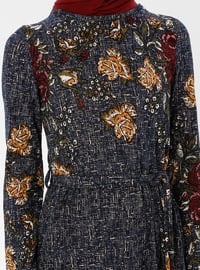 Navy Blue - Multi - Crew neck - Unlined - Dresses - ZENANE