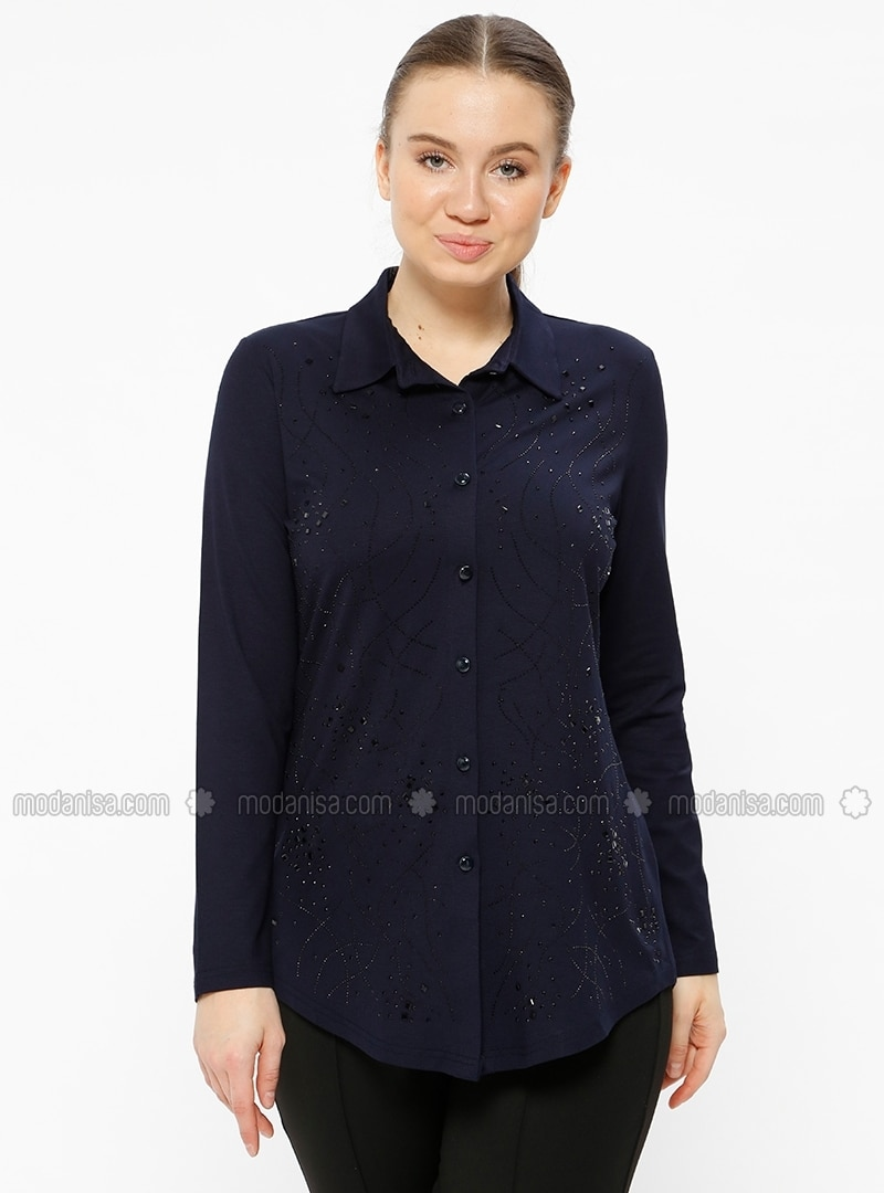Navy Blue - Point Collar - Plus Size Blouse