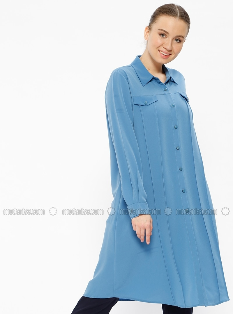 Blue - Point Collar - Plus Size Tunic