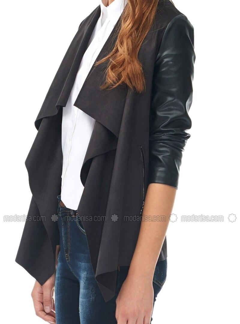 Deri kollu şık ve çok yönlü ceket