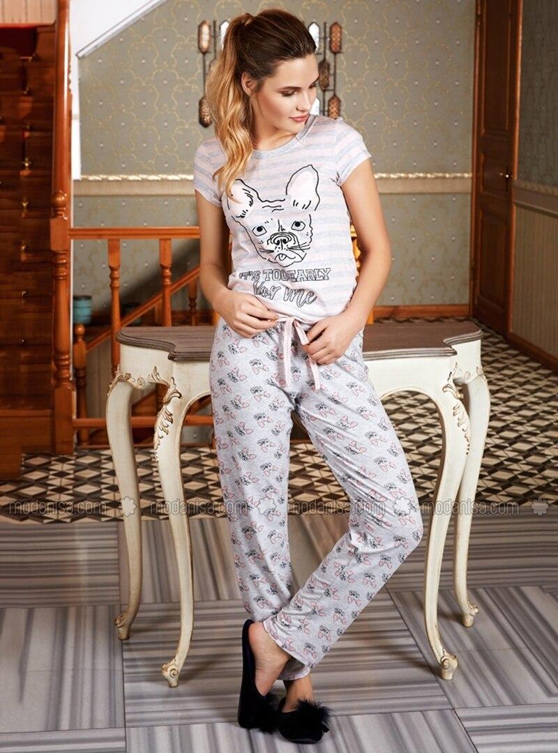 Pink - Gray - Polo neck - Multi - Pyjama
