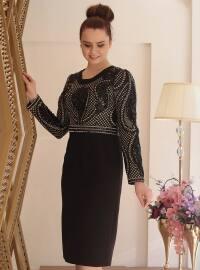Payetli Abiye Elbise - Siyah - Saliha
